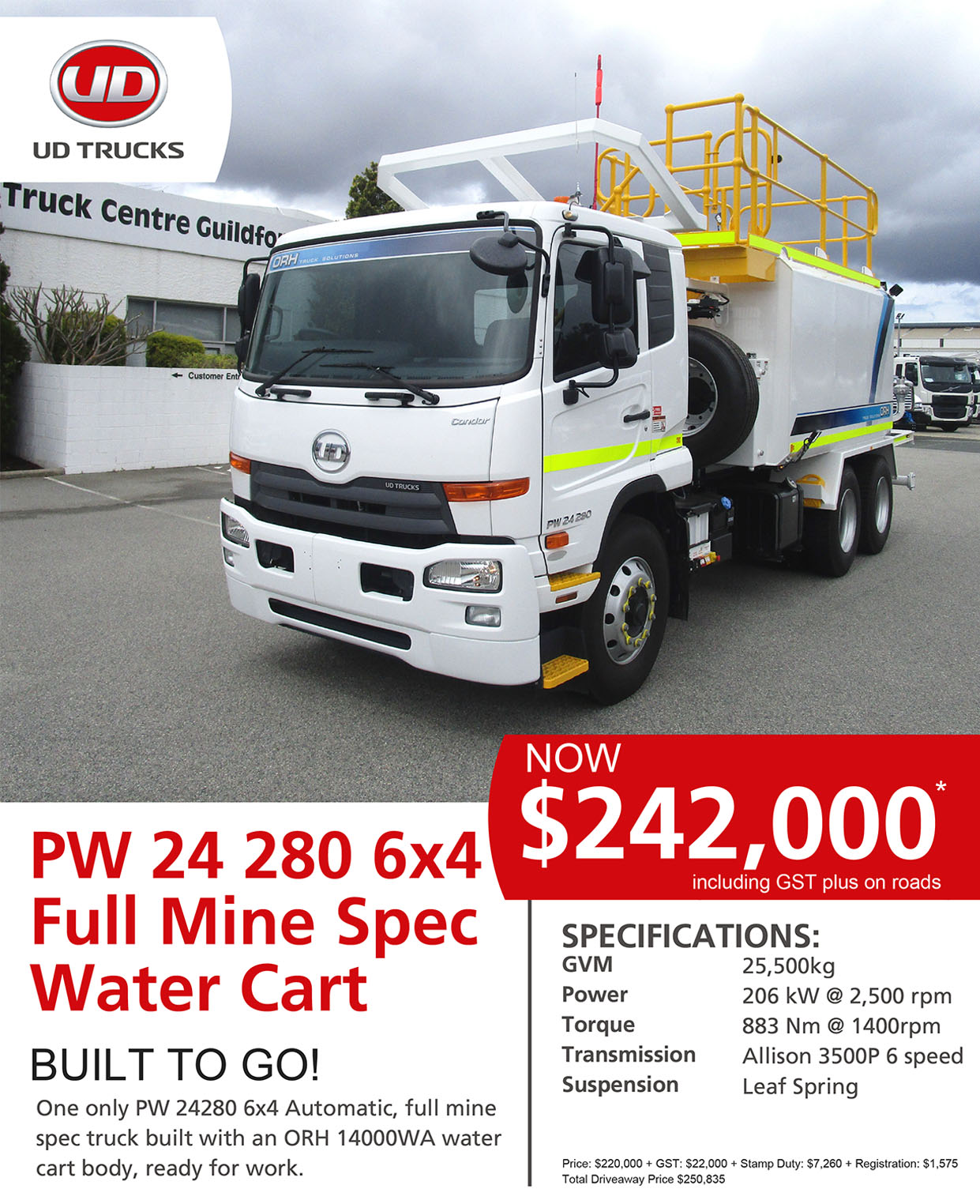 UD PW24280 Full Mine Spec Water Cart