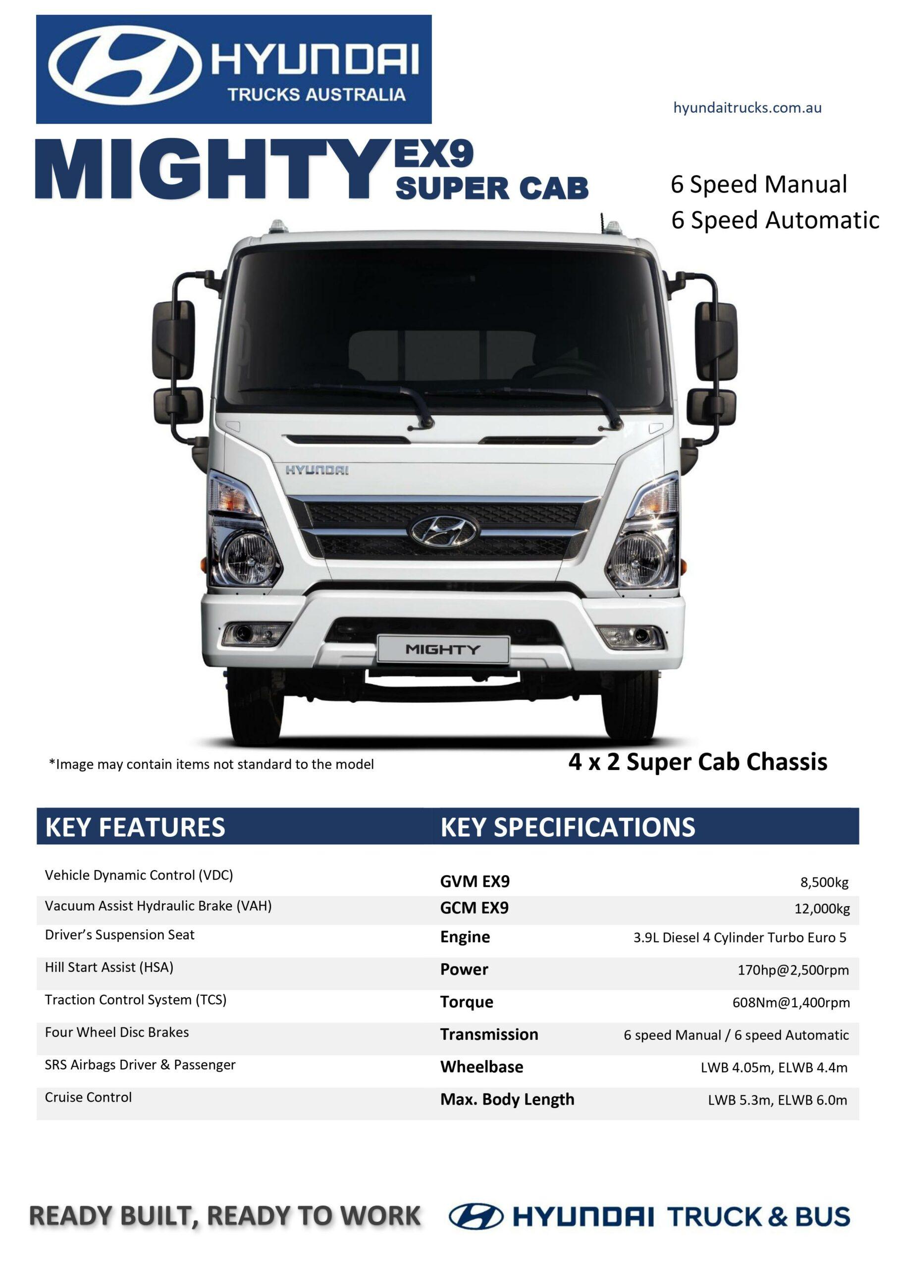 EX9 Mighty Super Cab Spec Sheet